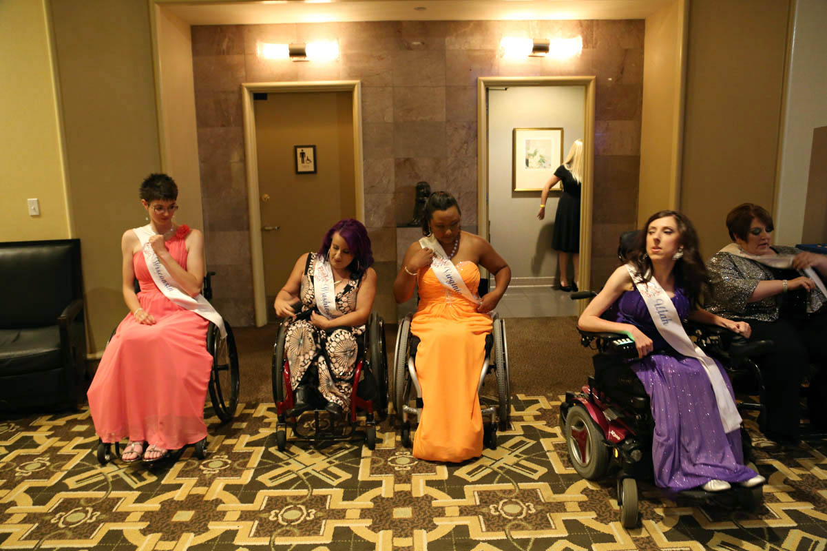 Contestants wait to enter the ballroom where the final judging takes place.