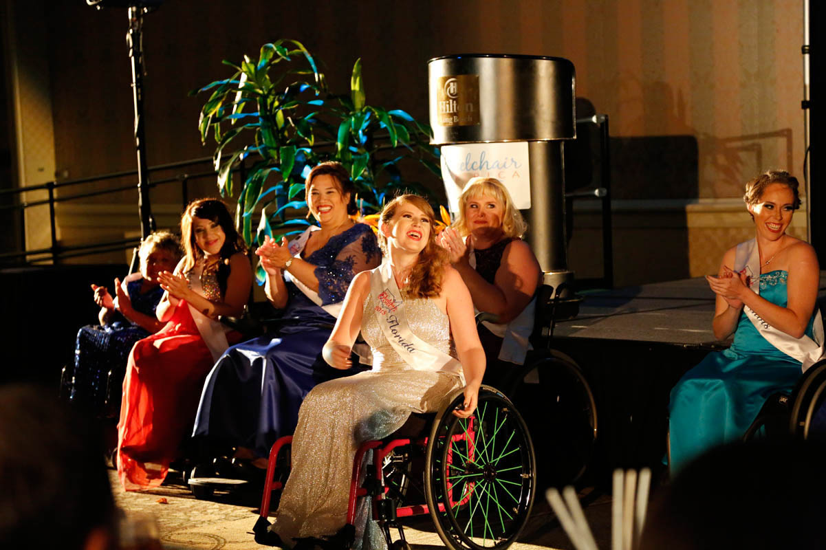 Stephanie Woodward, Ms. Wheelchair Florida 2014, reacts to the news that she's won the Ms. Congeniality award. Woodward is an attorney and disability rights advocate, who's been arrested twice, while protesting disability discrimination.