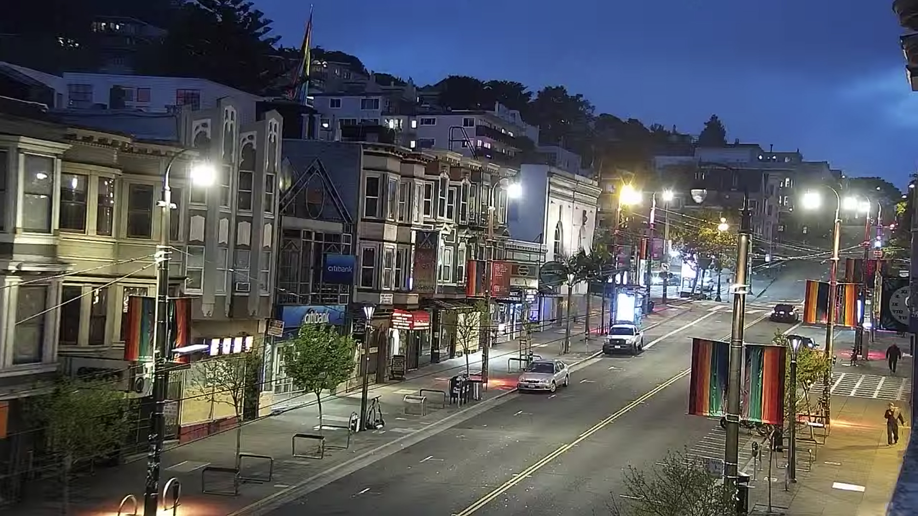 Castro Street, San Francisco, California. April 12, 2020, 8:08:07 PM PST