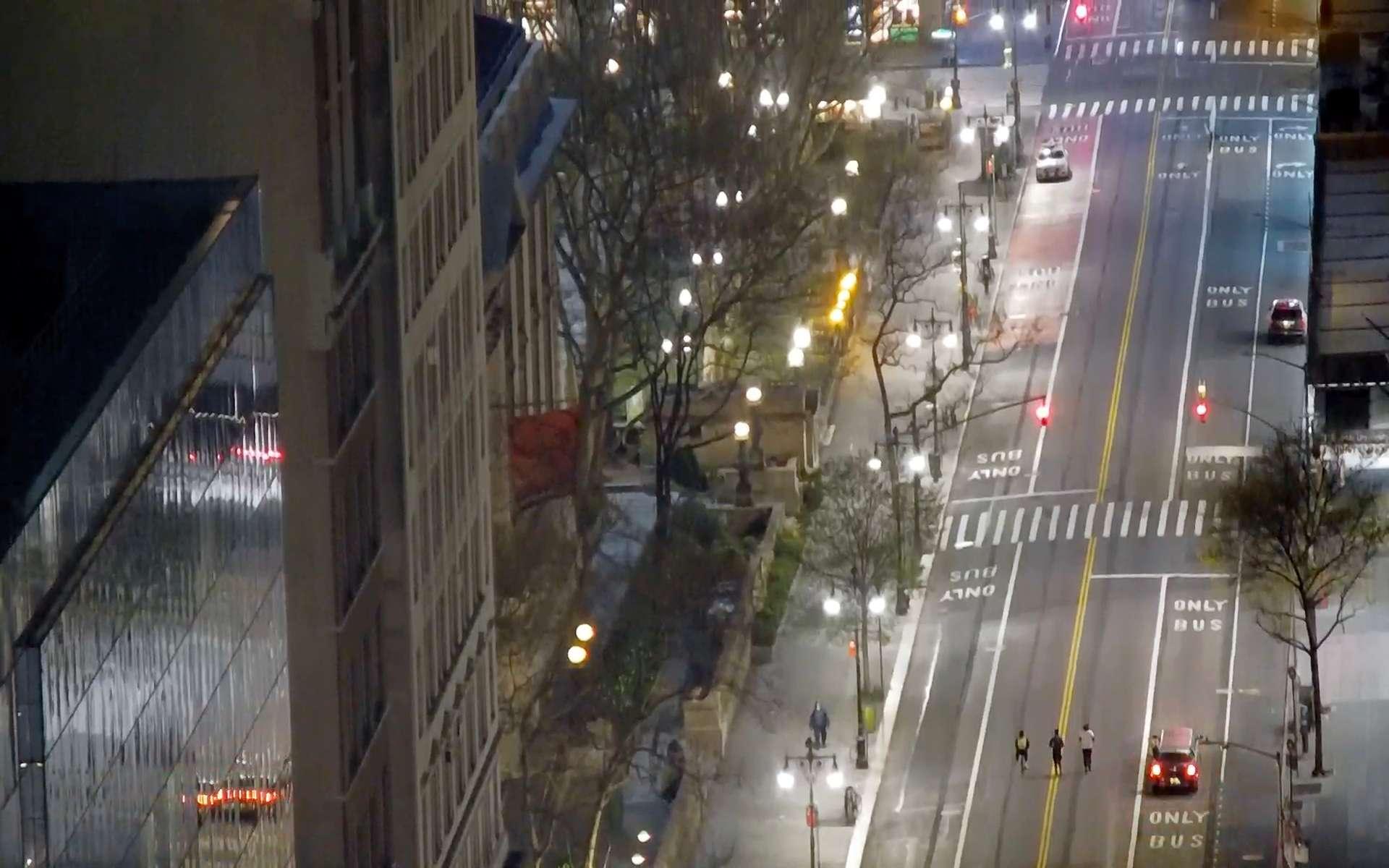 42nd Street, New York, New York. April 12, 2020, 9:22:57 PM PST
