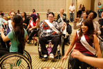 Jennifer Gilliland, Ms Wheelchair Pennsylvannia 2014, and other contestants, at a wheelchair dancing workshop during the week of the pageant.
