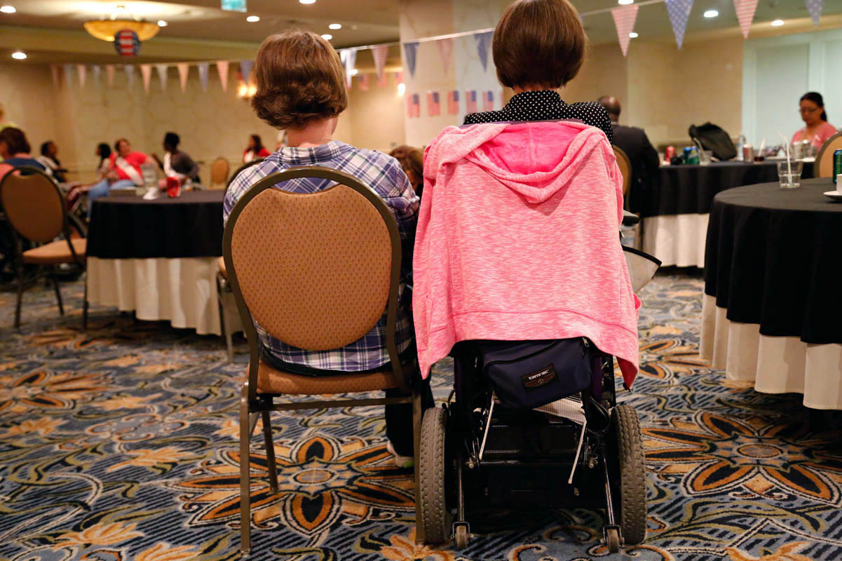 One of the parties during the week of the pageant. Staff members and volunteers at the event are both abled and disabled.