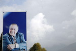One of the countless billboard portraits of former president Heydar Aliyev which line roadsides across the country.