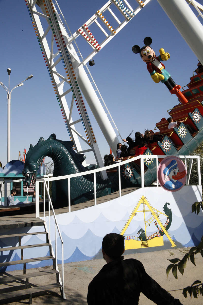 A carnival ride near the waterfront in downtown Baku.