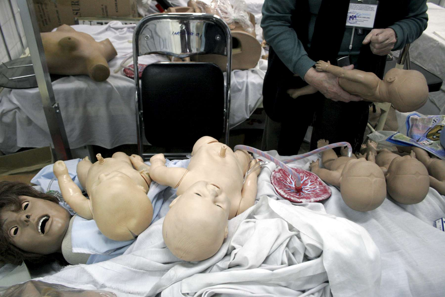 Simulation babies, a placenta and dummies of women used in practical training sessions for residents and midwives at the hospital.