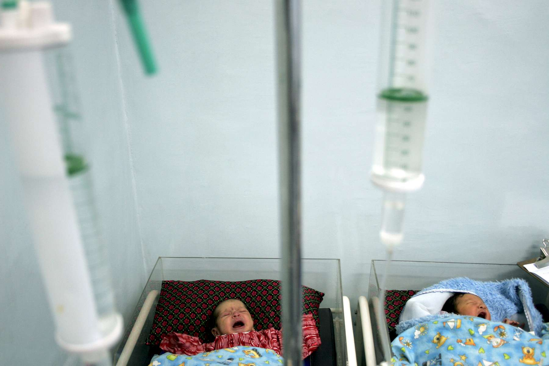 Intravenous tubes set up for babies in the nursery. One in four Afghan children die before the age of five.