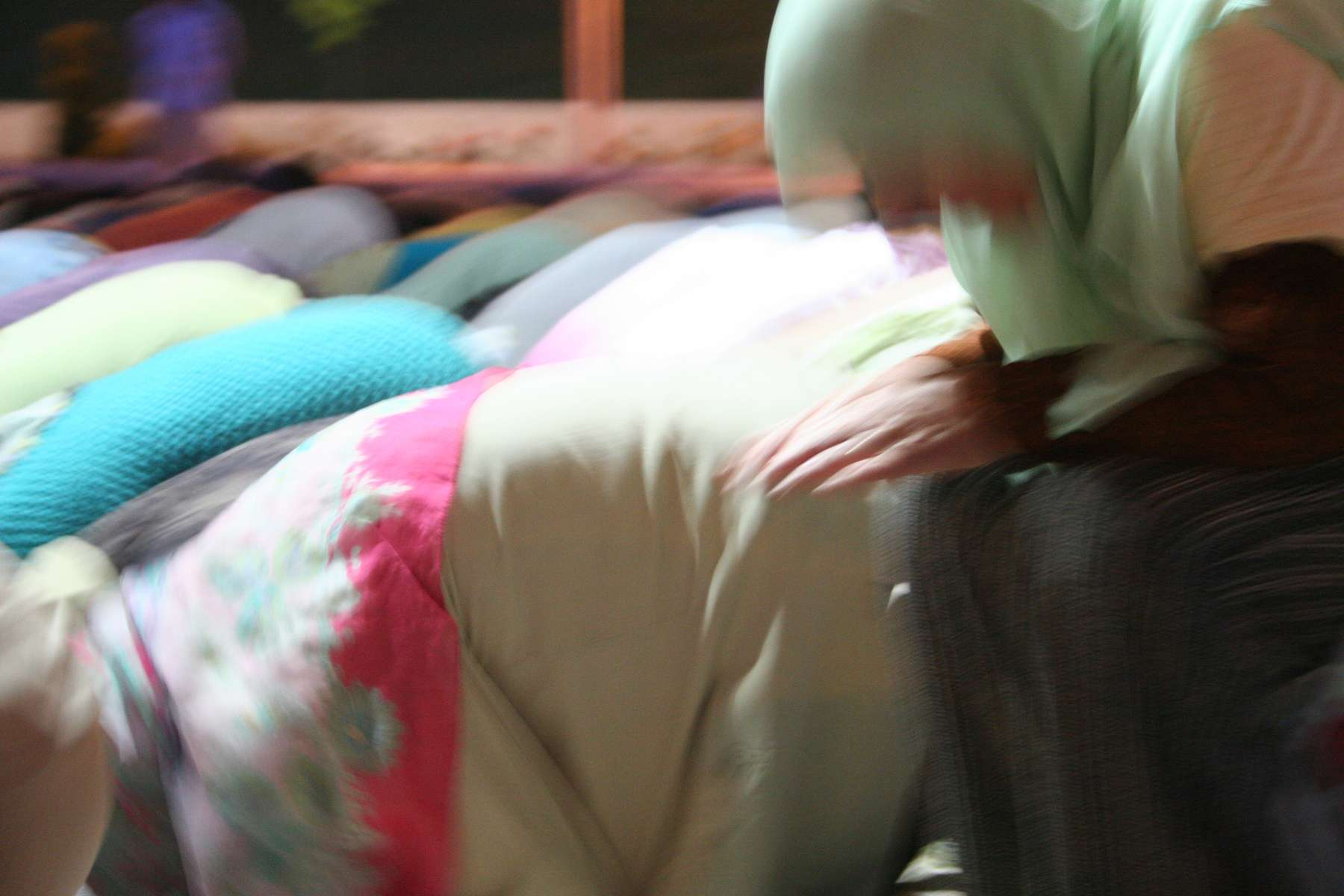 Muslim women during prayers held the evening before the July 11 commemoration ceremonies marking the tenth anniversary of the Srebrenica massacre in 1995.