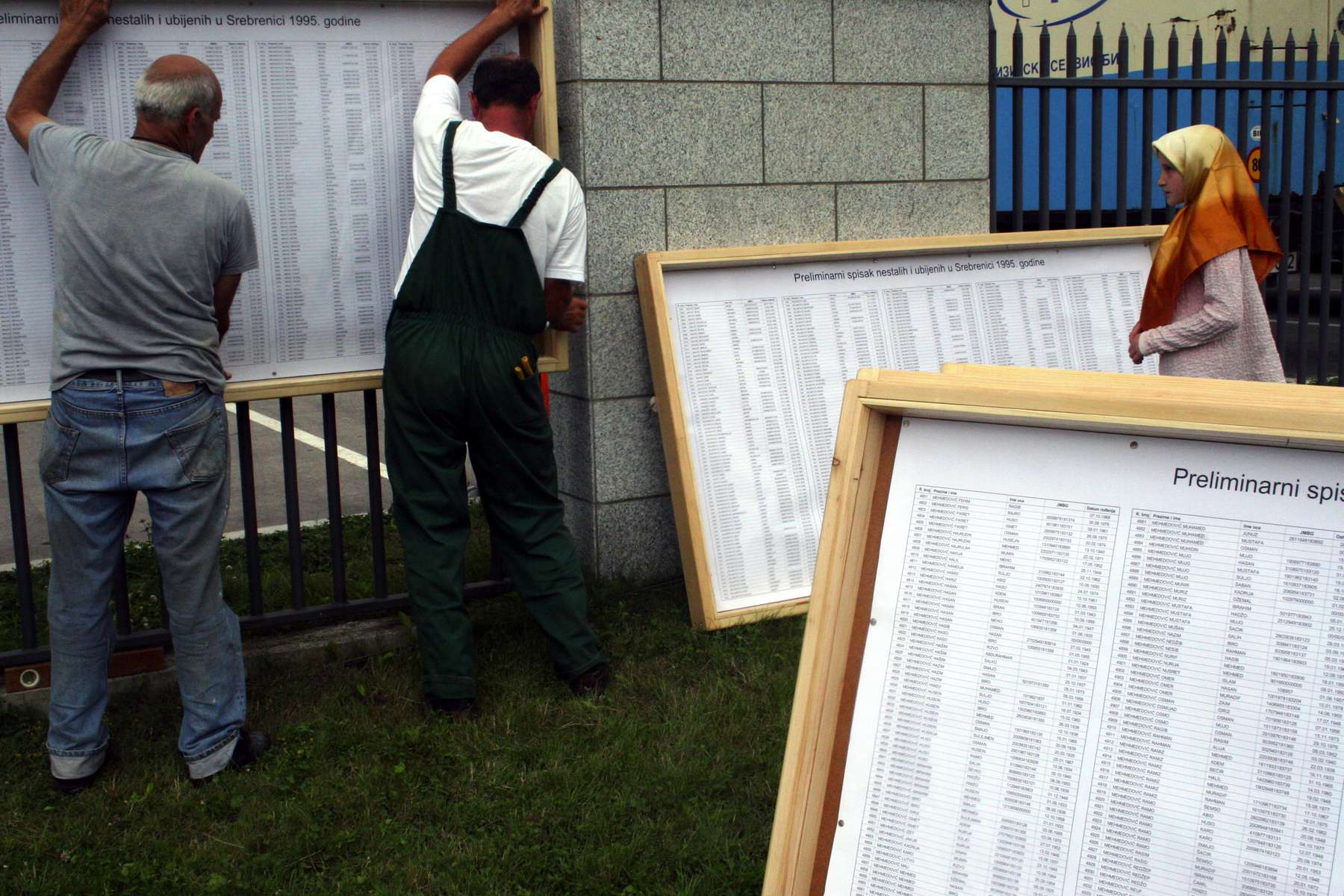 Workers put up sign boards containing the names of the 7,000 to 8,000 Muslim men and boys who were killed near Srebrenica in 1995 by Serb forces. More than 600 remains of those killed will be buried at the memorial site on July 11, the tenth anniversary of the worst genocide in Europe since the end of World War II. The men were killed in a factory complex in the village of Potocari, just a few miles from Srebrenica.