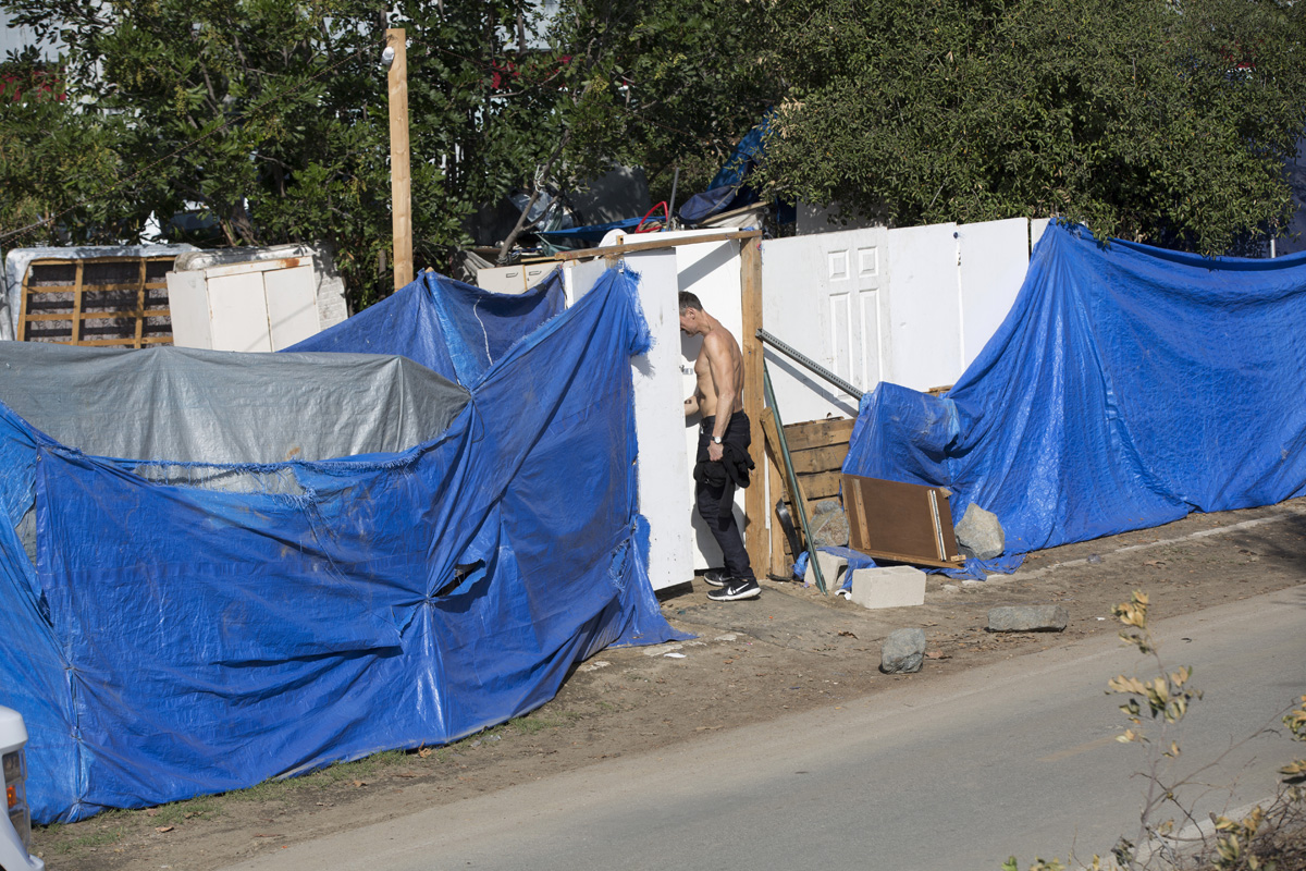Many residents of the Santa Ana River Bed homeless encampment built structures that include doors and walls for privacy. By the end of February, they had all been torn down.