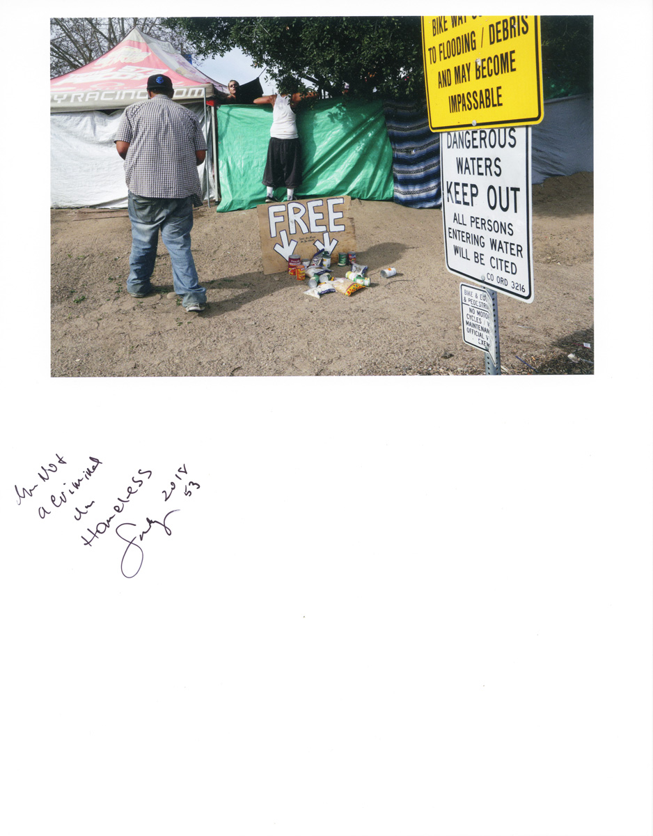 Caption by Suzy, a resident of the Santa Ana River Bed homeless encampment.Photo by Sara Terry