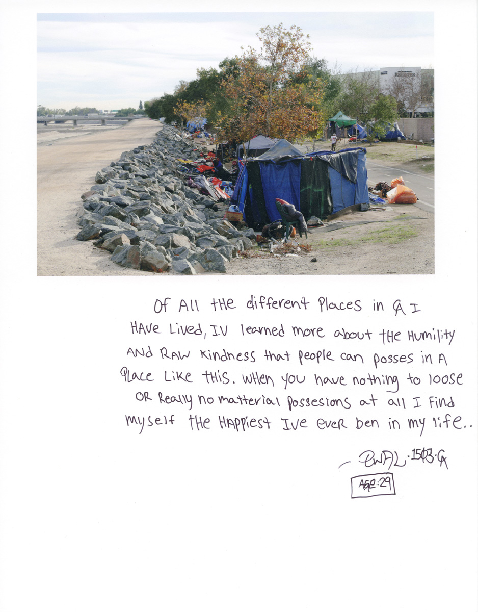 Caption by Ewal, a resident of the Santa Ana River Bed homeless encampment.Photo by Sara Terry