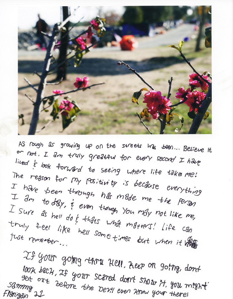 Caption by Sammy ({quote}Little Bit{quote}) Flanigain, a resident of the Santa Ana River Bed homeless encampment.Photo by Sara Terry