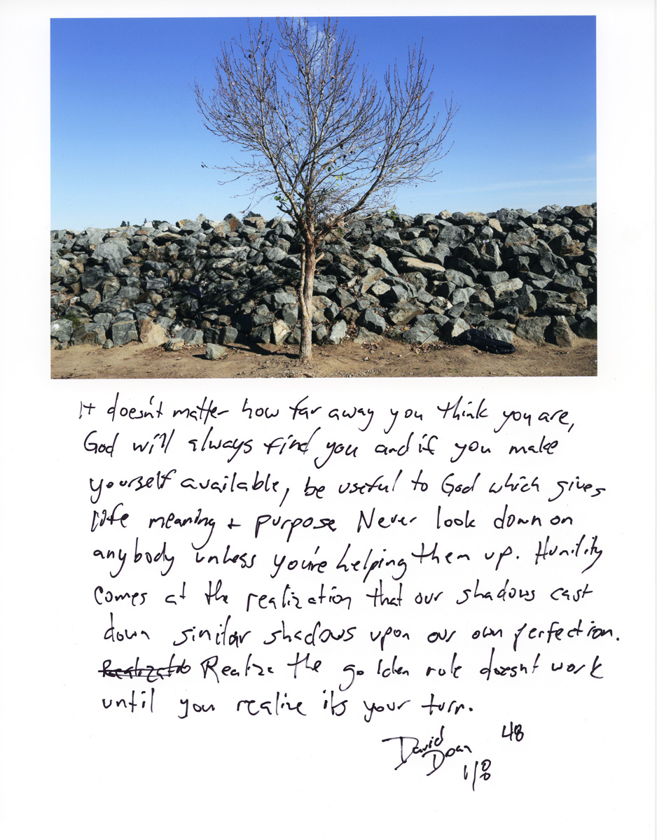 Caption by David Doan, a resident of the Santa Ana River Bed homeless encampment.Photo by Sara Terry