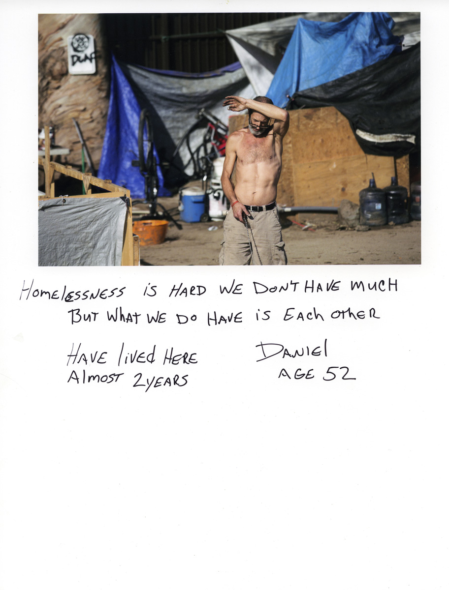 Caption by Daniel, a resident of the Santa Ana River Bed homeless encampment.Photo by Sara Terry