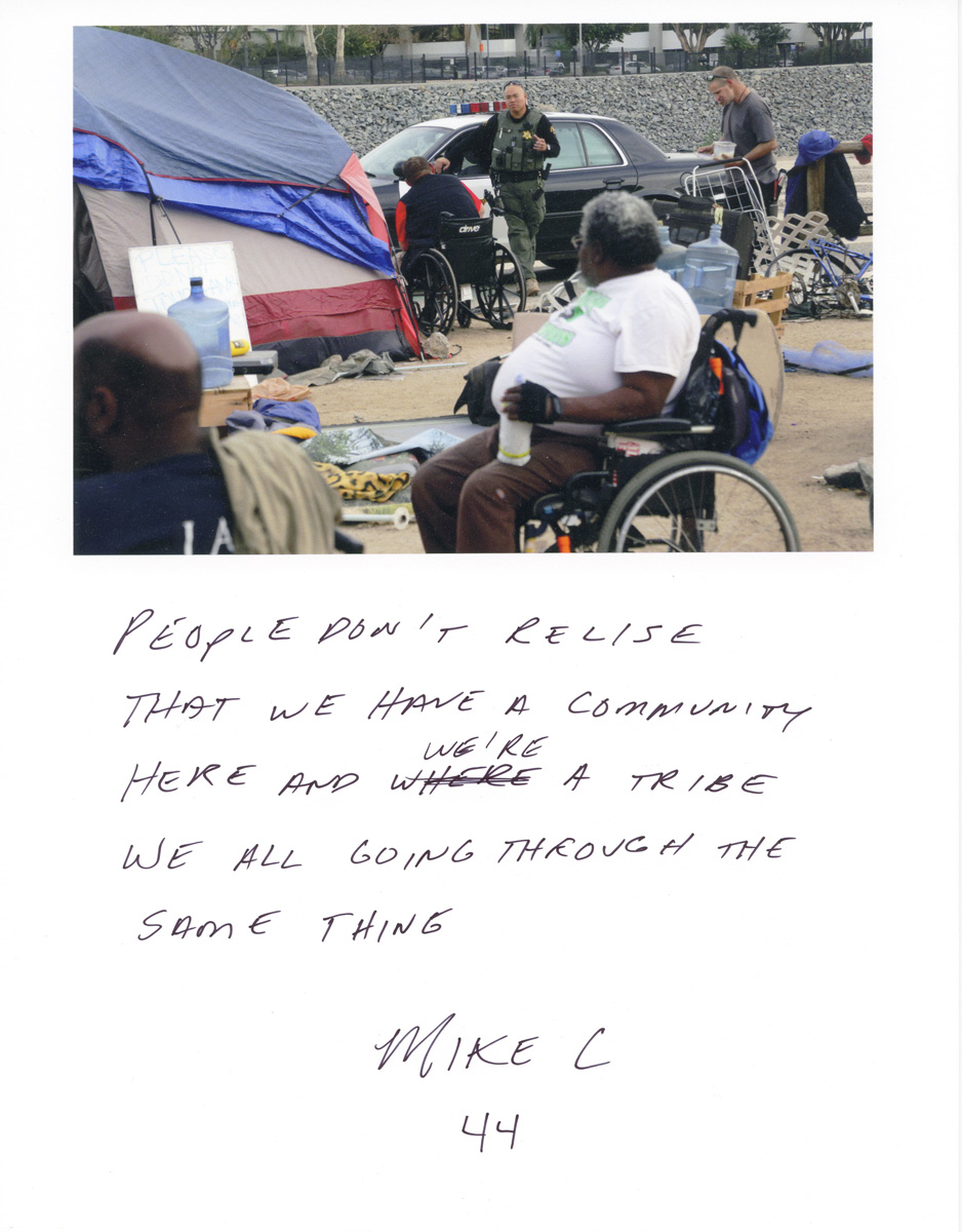 Caption by Mike C., a resident of the Santa Ana River Bed homeless encampment.Photo by Sara Terry