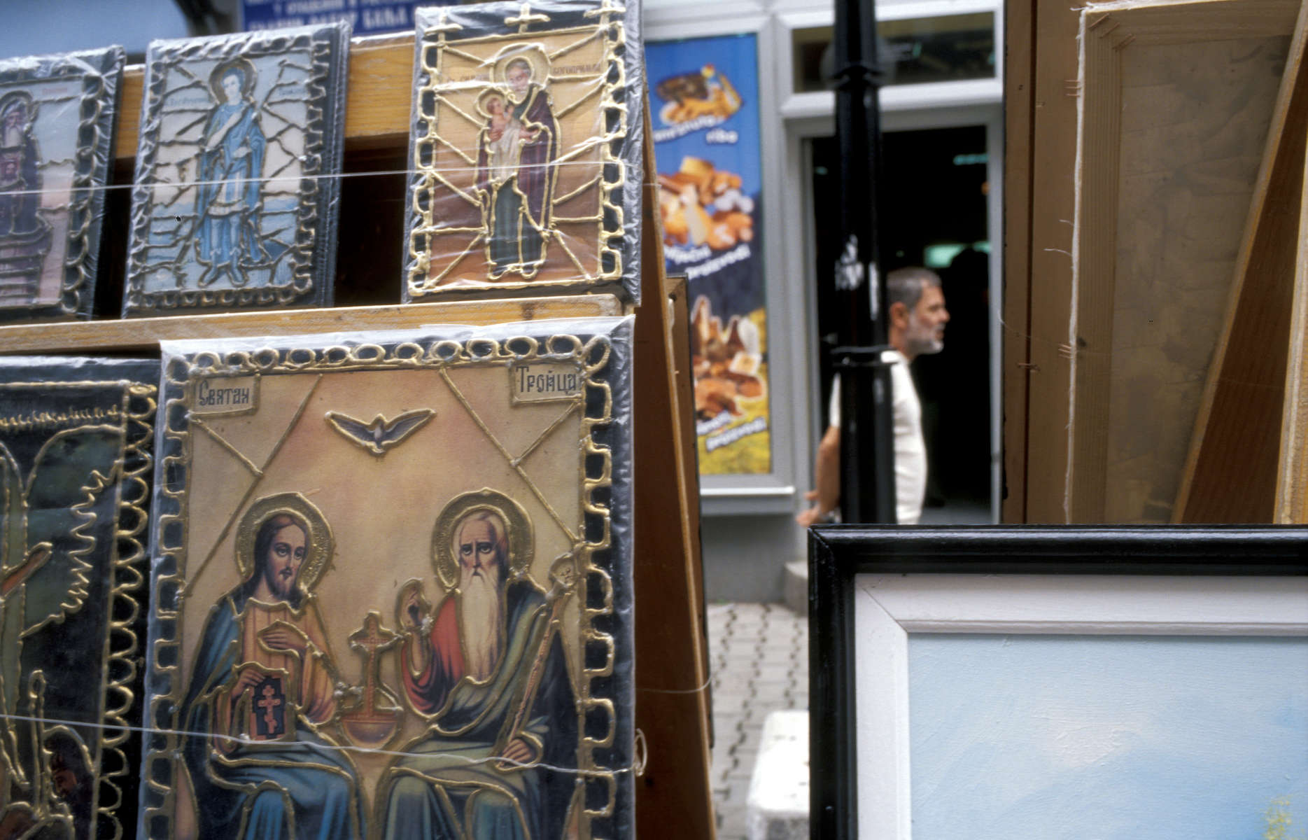 Orthodox art work for sale on the streets of Banja Luka, which is the capital of the Serb Republic entity which makes up 49 percent of Bosnia. Muslims were viciously \{quote}cleansed\{quote} during the war, and few have returned to live here since that time.