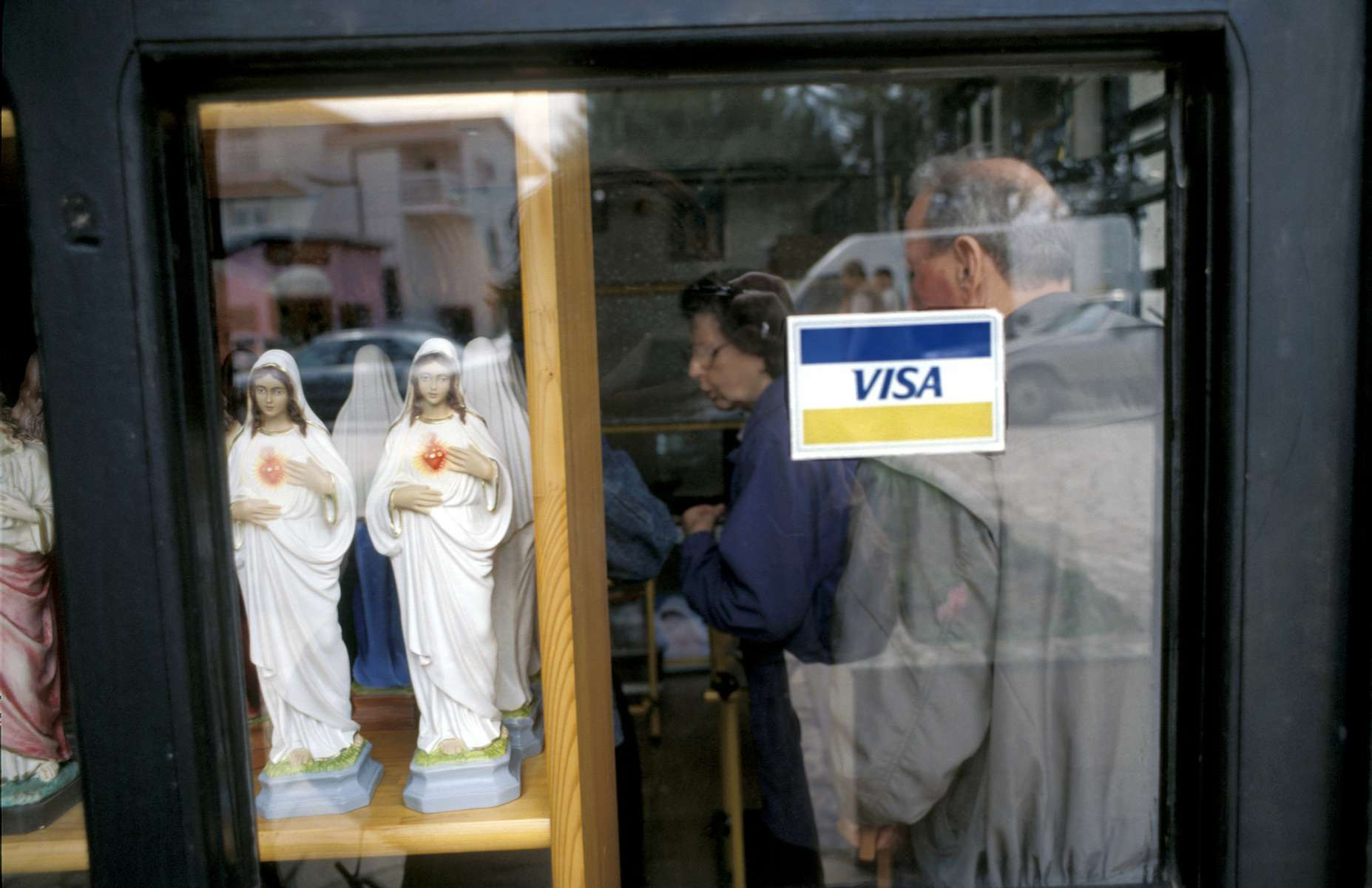 One of dozens of tourist shops in Medjugorje, which sell religious icons and statues to pilgrims who come from around the world to see the site where six teenagers claim to have had a vision of the Virgin Mary in 1981.