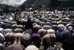Muslim widows pray during ceremonies marking the groundbreaking of a memorial site for the 7,000 to 8,000 Muslim men and boys who were slaughtered when Srebrenica was overrun by Serb forces in July 1995. The memorial is a few kilometers down the road from Srebrenica, across from a now-abandoned factory, where many of the men were kiled.