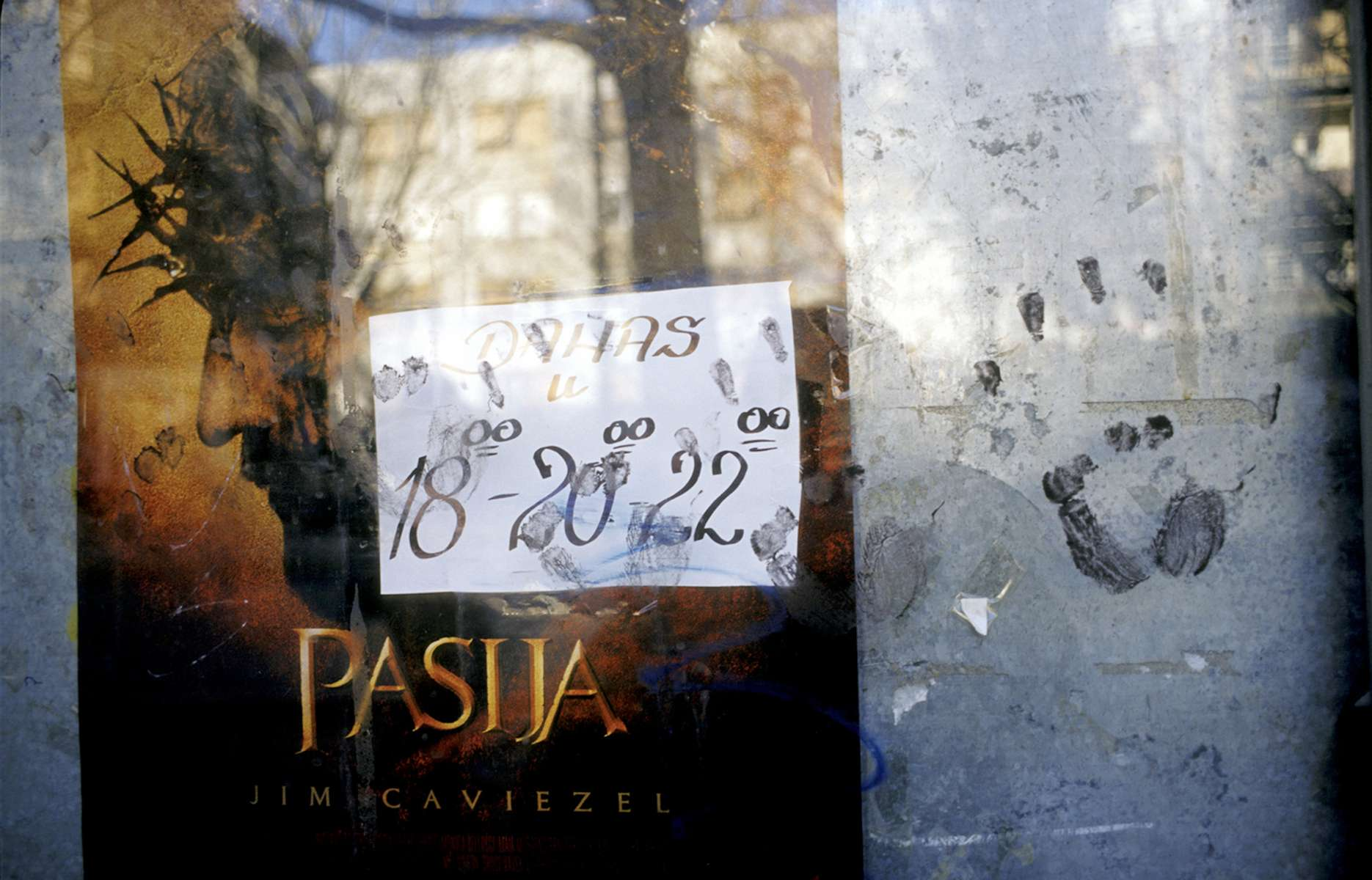 A poster for Mel Gibson\'s film, \{quote}The Passion of the Christ\{quote} in the Catholic section of Mostar.