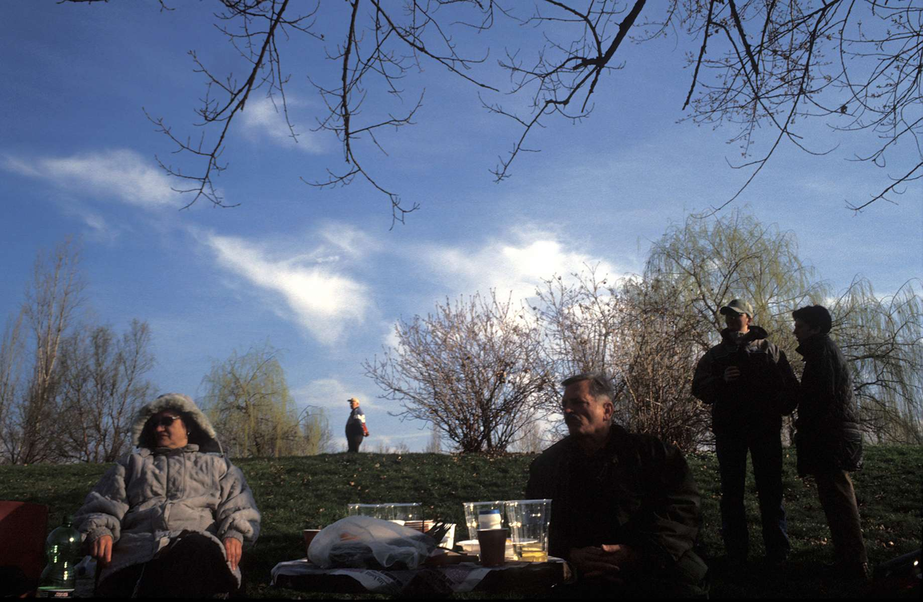 These picnickers arrived at dawn to stake out the site where they will spend the day eating and drinking as part of Zenica\'s \{quote}cimburijada\{quote} festival, celebrating the first day of spring.