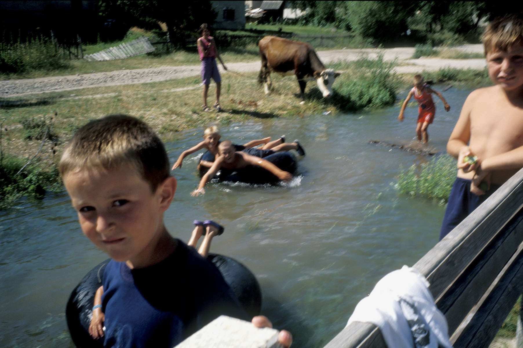 Children play in the river that runs through the village of Vesela, which has had a refugee return rate of some ninety percent of its pre-war population of Muslims, Serbs and Croats. Vesela has been hailed as a sucess story by Bosnian officials; in the aftermath of \{quote}ethnic cleansing\{quote} and genocide many towns and villages remain heavily populated by one group or another, with many refugees reluctant to return to the homes they fled during the war. July 2001.