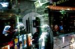 Window reflection, beauty store. April 2002.