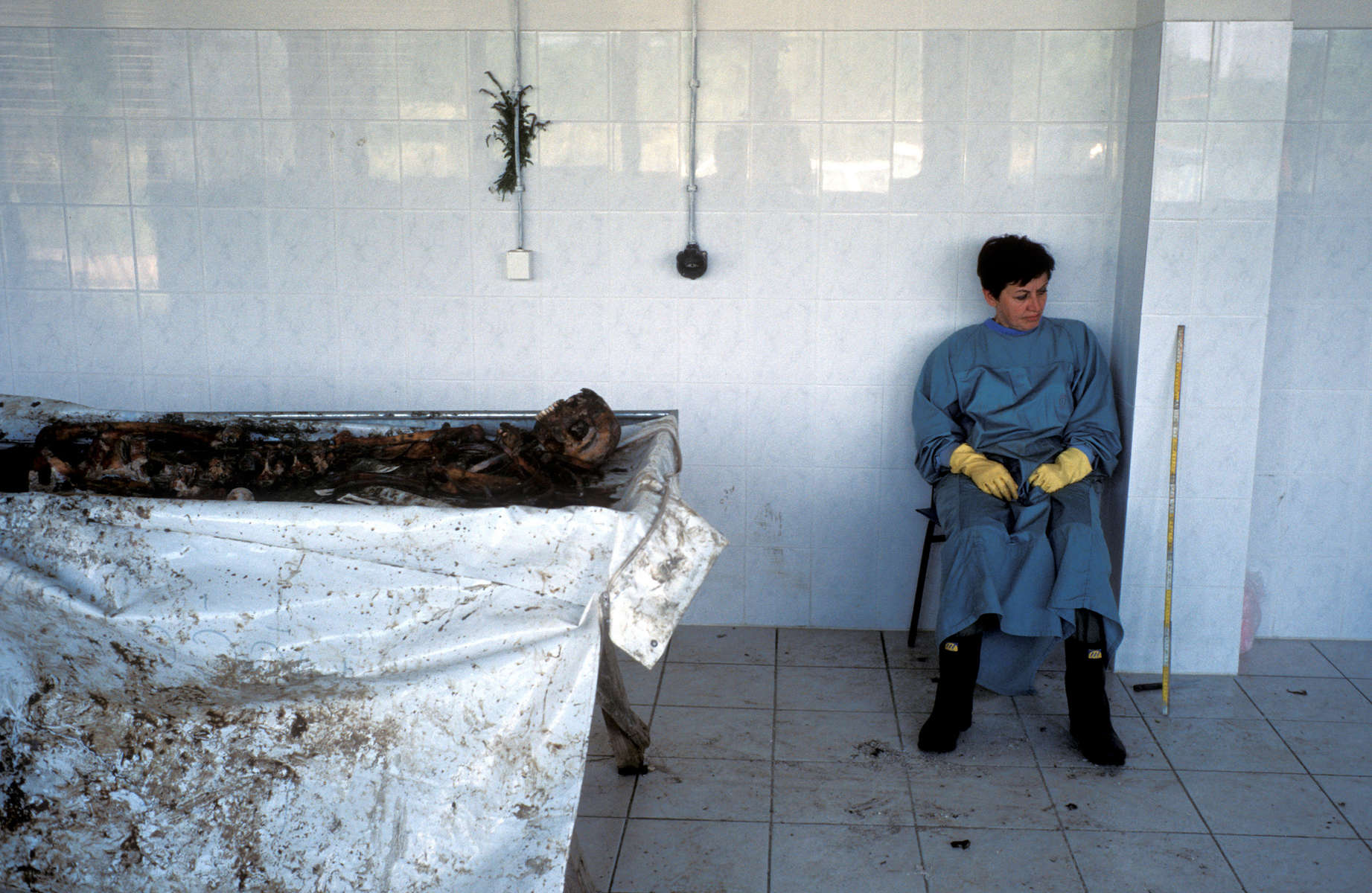 A forensic anthropologist takes a break from cleaning the remains of a recenty-exhumed victim of the Serbs\' 1992 \{quote}ethnic cleansing\{quote} campaign against Muslims. July 2001.