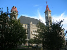 Once proud highschool in city of Fall River now renovated, splendid courthouse overlooking city and Narragansett Bay...