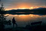 After brutal rains and wind, sublime evening at twilight on Crocker Pond
