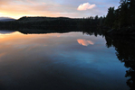 After tumultuous day, peace at colorful sundown, Crocker Pond
