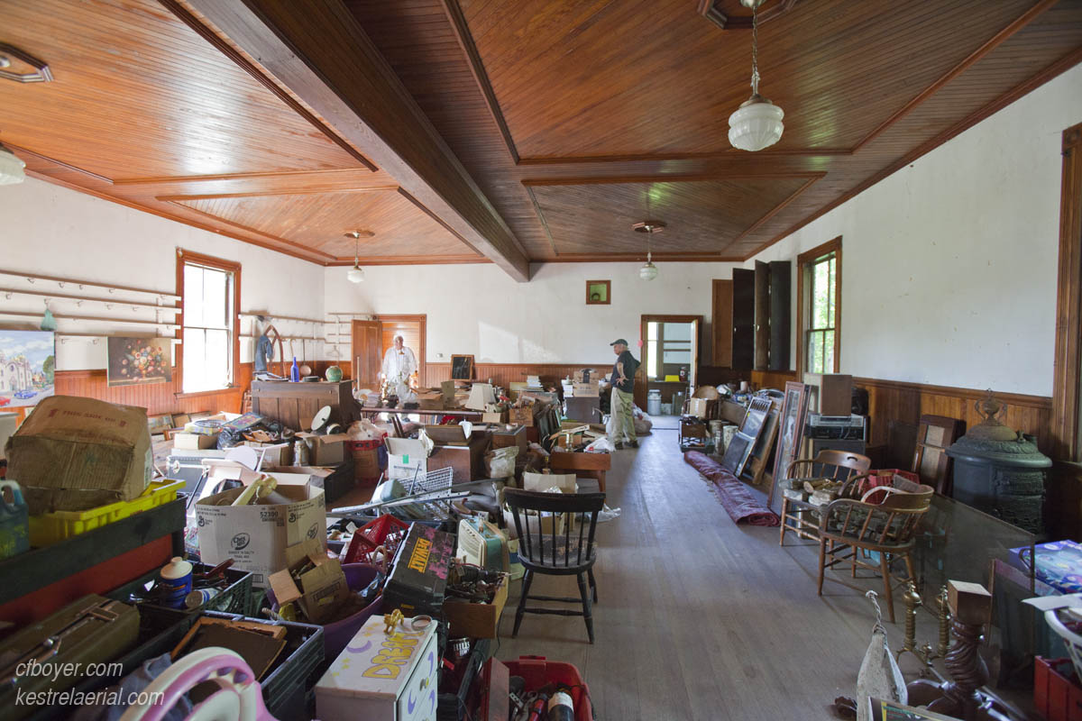 The downstairs was apparently last used as a staging area for a giant yard sale sometime in the 80's.