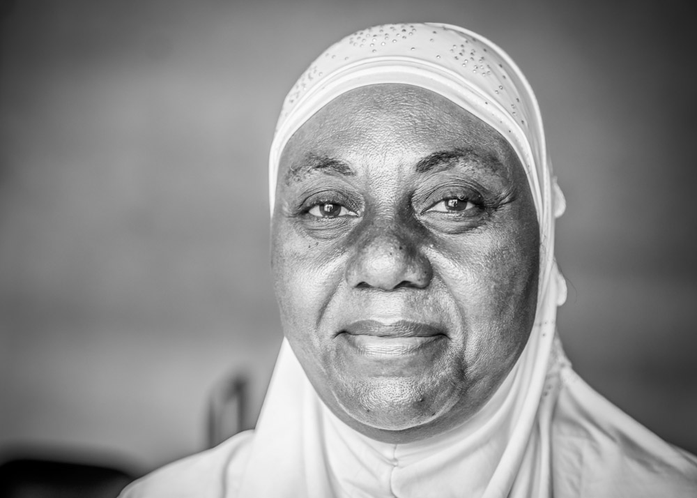 Nzeba Roukiya works with Mama Aicha at the faith-based organization, Maman Ansar or {quote}Warrior women{quote}. Nzeba leads discussions about family planning methods in the Muslim community in Kinshasa. September, 2016.