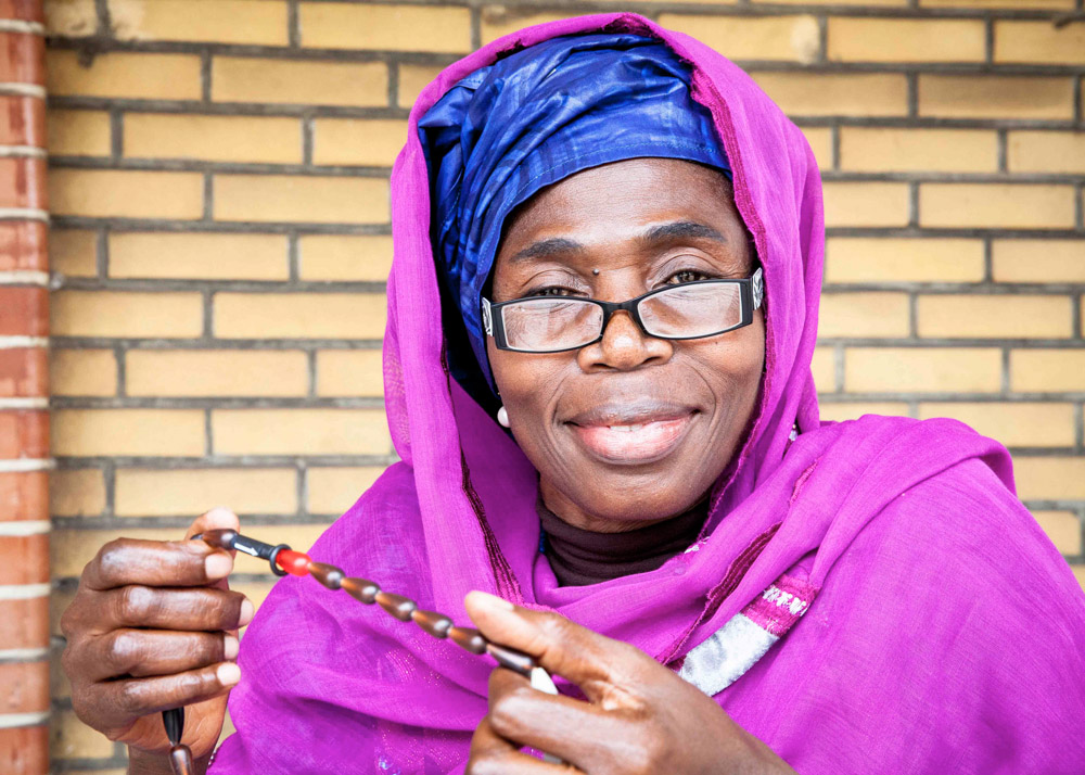 Aicha Masanka is a community worker at Maman Ansar {quote}Warrior women{quote}. She visits people in their homes and teaches family planning methods in the Muslim community in Kinshasa. September, 2016.
