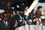 President Salva Kiir Mayardit speaks to the public after casting the first ballot in the referendum.Juba, southern Sudan