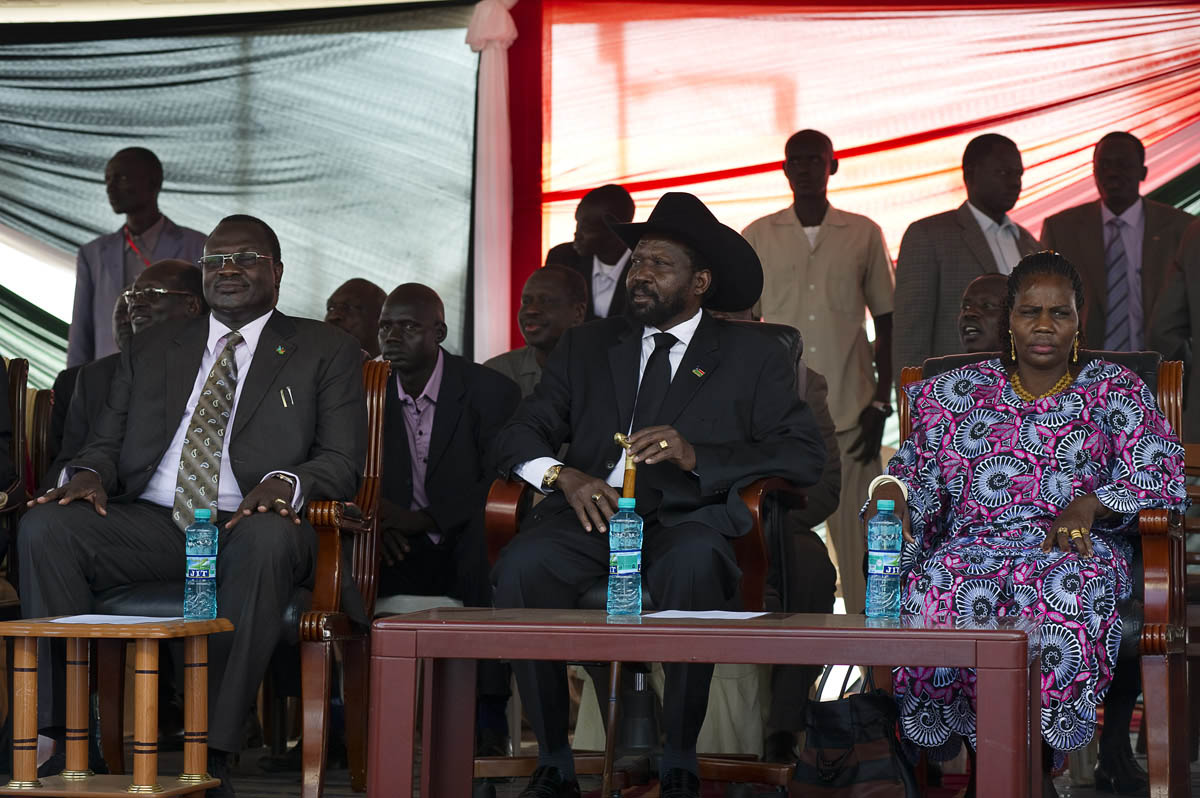 President Salva Kiir Mayardit (center), Vice President Riek Machar and first lady Mary Ayen Mayardit as the results of the referendum are announced.  The poll led to a near unanimous (98.83%) vote in favor of separation.Juba, southern Sudan
