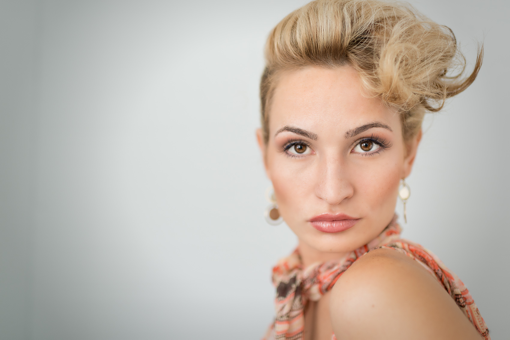 sensual headshot of a model.
