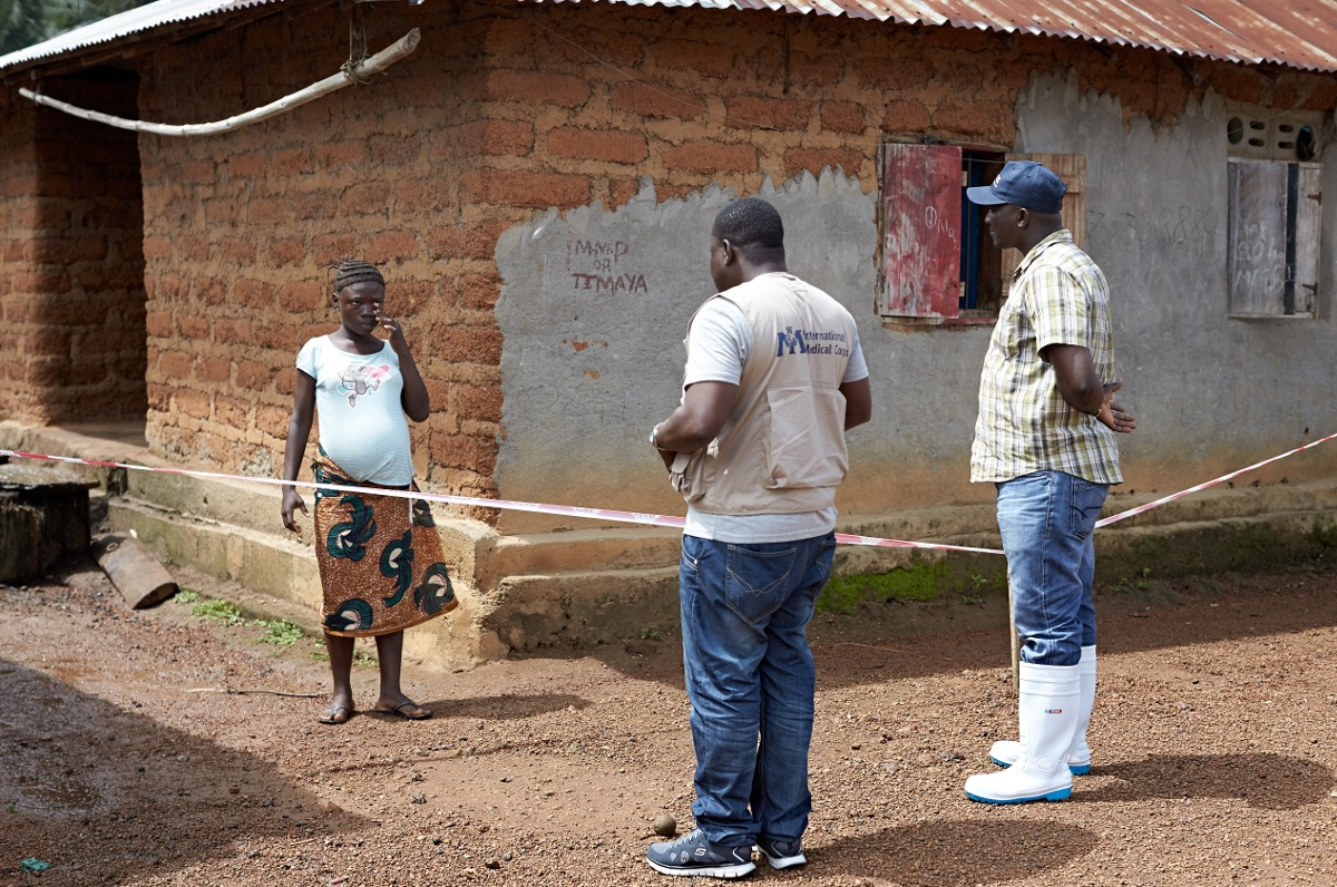 Outreach antenatal care being delivered to a 15 year old girl quarantined due to a possible exposure to the Ebola virus