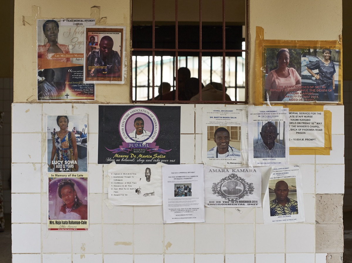 The risks of dealing with Ebola are high. Many health care staff died in the line of duty. Connaught hospital, Freetown, Sierra Leone