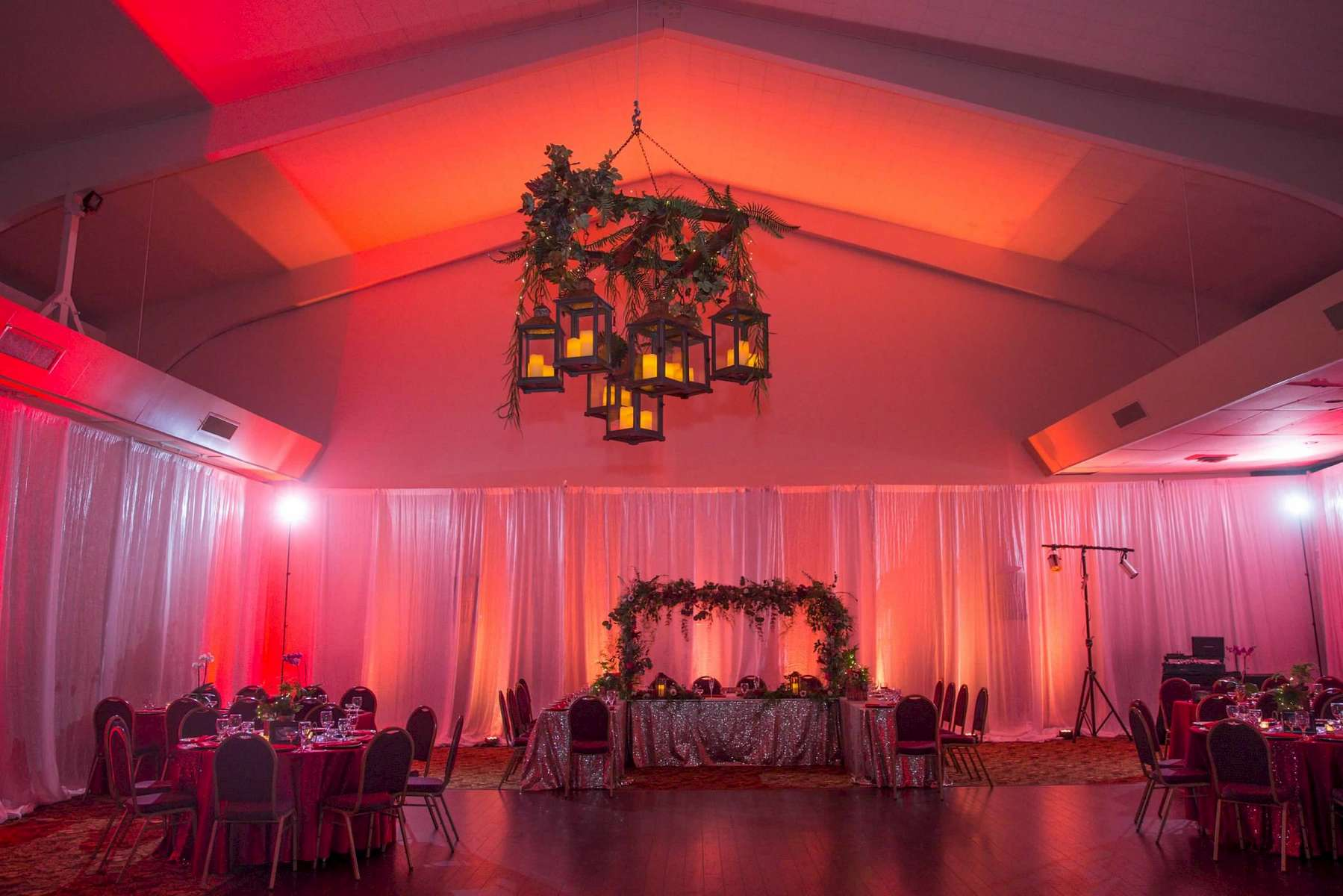 Can be customized with greenery, florals, different lights, Japanese lanterns, etc.