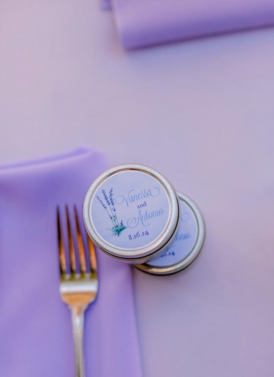 Custom lavender candle favors