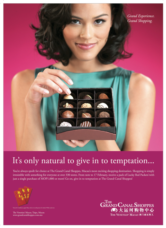 Advertisement for The Grand Canal Shoppes Chocolate Campaign