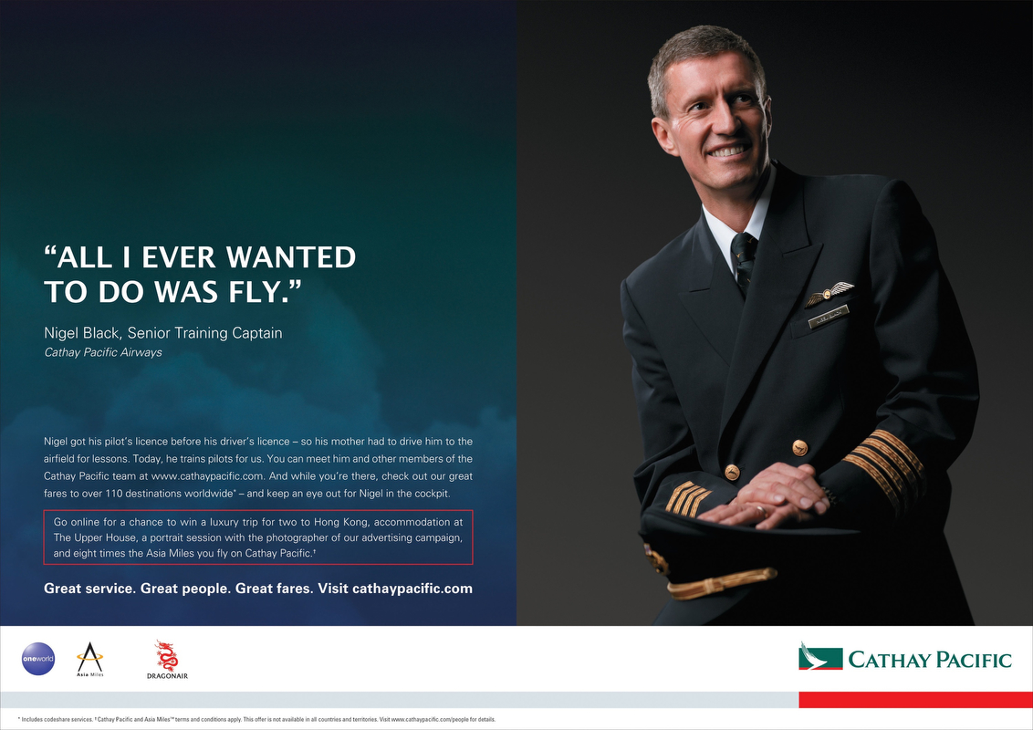 Nigel featured in Cathay Pacific Advertisement