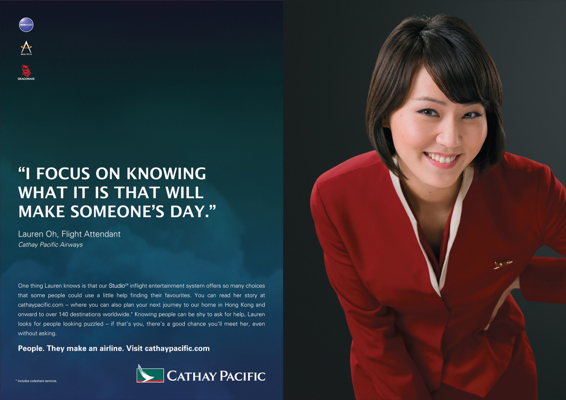 Lauren Oh featured in Cathay Pacific Advertisement