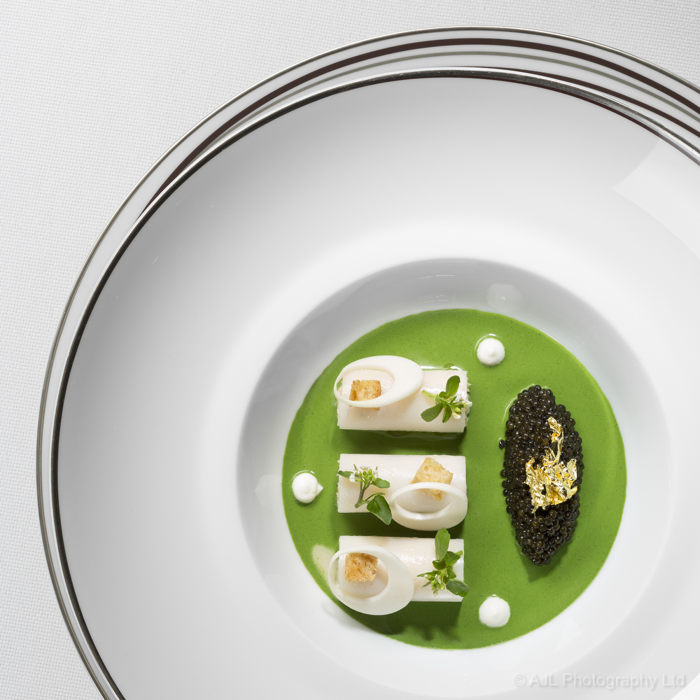 Alaskan crab, Burrata & Mauritian Royal palm heart salad with watercress & Caviar by Chef Richard Ekkebus