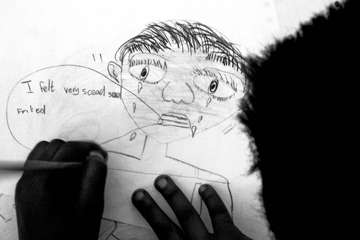 A child's drawing at the Teddy Bear Clinic for Abused Children. PLACE: JohannesburgDATE: April 2003