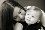 mom and her son during family portrait session in Hoboken