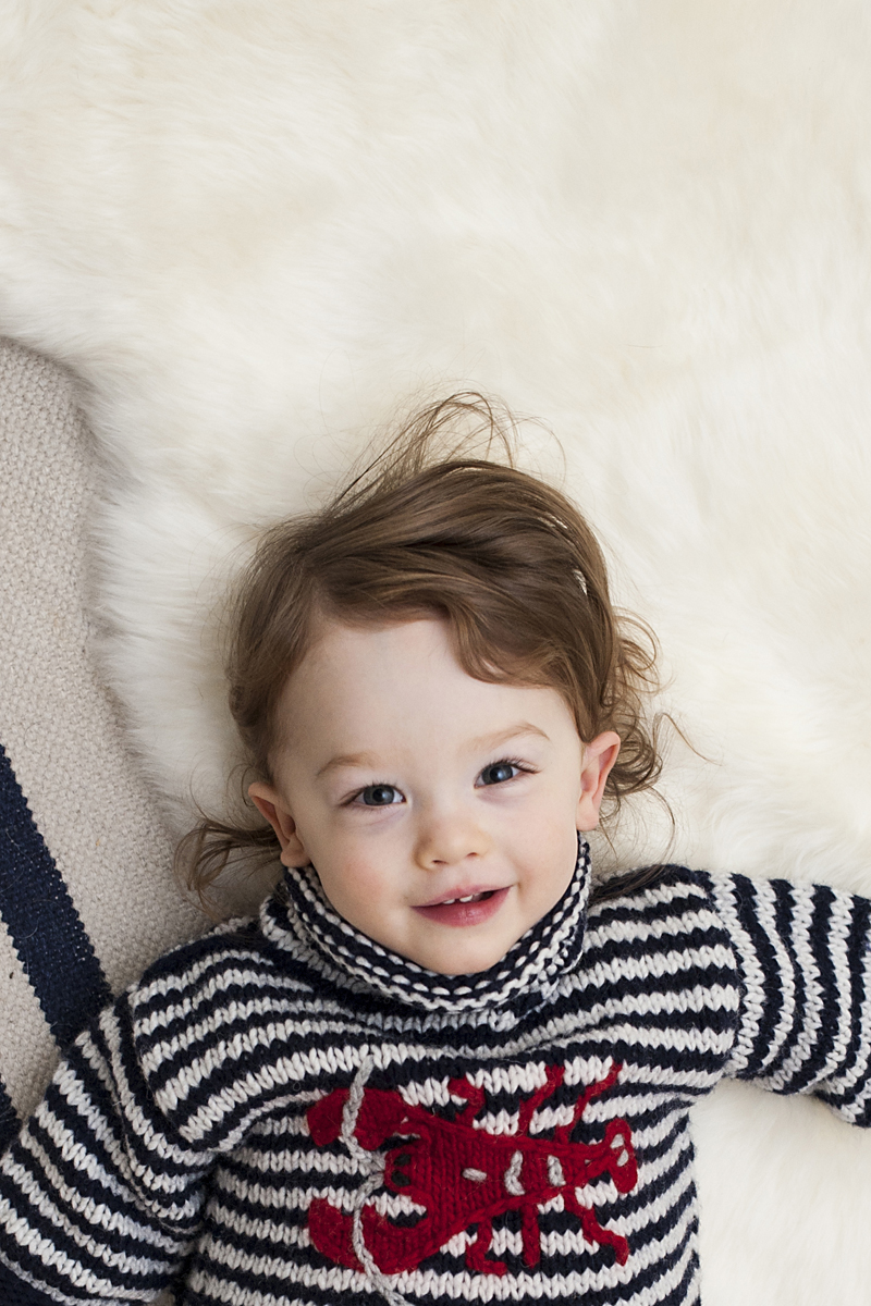 toddler posing for camera during family portrait session
