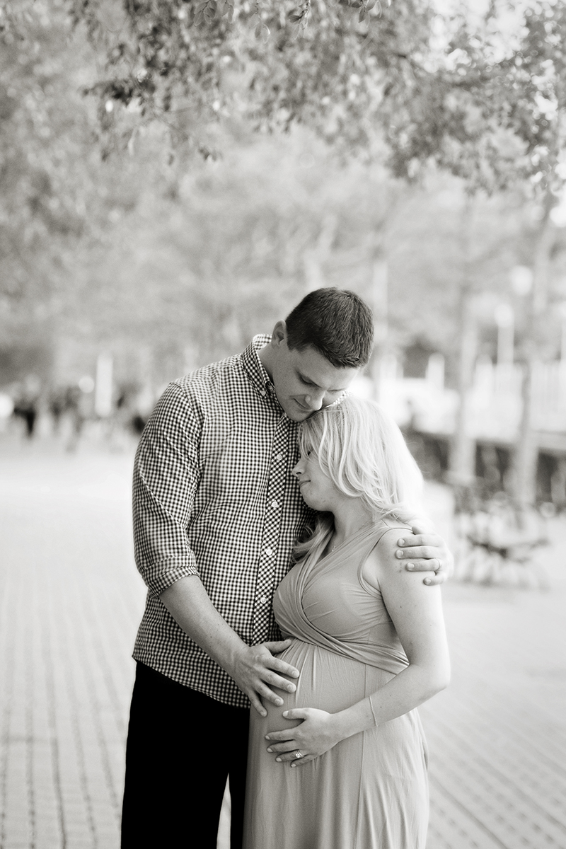 maternity session in Hoboken along waterfront