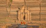 Three Monks at Mingun Pagoda, near Mandalay