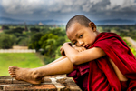 Monk Sitting on Wall